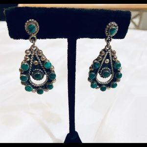 Mexican 925 Silver teardrop, malachite earrings